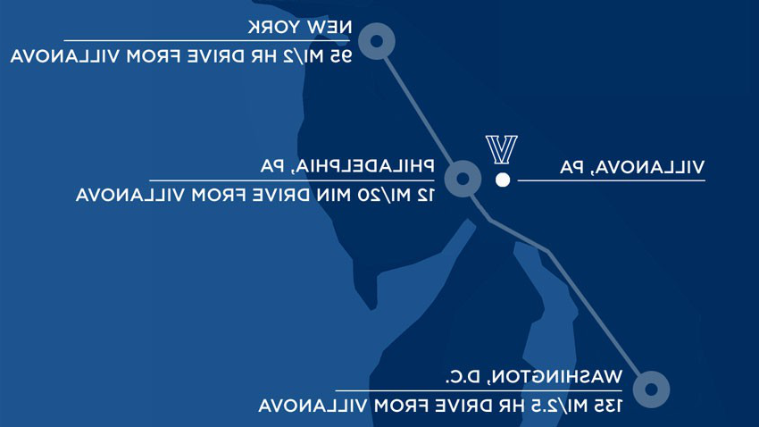 Map outline of Villanova in reference to nearby cities