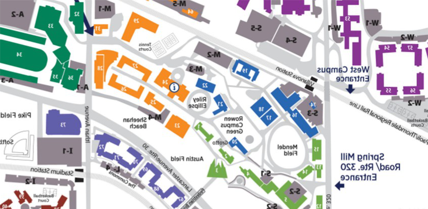 A labeled map of parking and building for printing